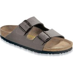 Birkenstock Unisex's Arizona Stone Birkibuc Slide Sandals ($100) ❤ liked on Polyvore featuring shoes, sandals, grey, birkenstock, grey sandals, unisex sandals, lightweight shoes and stone sandals