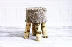 Luxury Beautiful Real SHAGGY Gray SHEEPSKIN STOOL, Chair, Pouf, Scandinavian Design