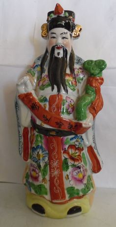 Chinese Lucky God Lu High Rank Fortune Porcelain Figurine Statue Collectible