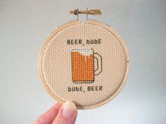 Beer Dude cross stitch