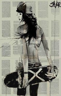 """Saatchi Art Artist: Loui Jover; Ink 2015 Drawing """"sk8er gurl"""""""