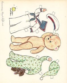 Teddy Bear by Queen Holden, hand colored by Marge