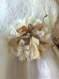 Burlap & Lace/ Ivory Cream/ Rustic Flower by DolledandDazzled