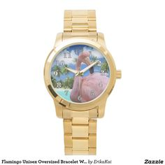 Flamingo Unisex Oversized Bracelet Watch. Color: black, gold, silver or two-ton