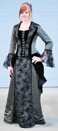 Green/black Victorian Dress. $200.00, via Etsy.