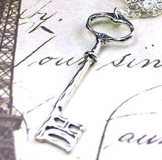 Sterling Silver Skeleton Key Necklace The by BeadedTreasurebySue, $30.00
