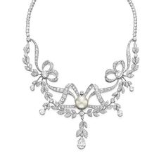 A BELLE EPOQUE DIAMOND AND PEARL NECKLACE   Of garland motif, the front suspending old European and old mine-cut diamond foliate swags with bezel-set old European-cut diamond and a pear-shaped diamond drop, from the old European and old mine-cut diamond scrolled ribbons, set with oval-shaped rose-cut diamonds, centering upon a button pearl, measuring approximately 13.65 x 10.15 mm, to the graduated collet-set diamond backchain, mounted in platinum, circa 1910