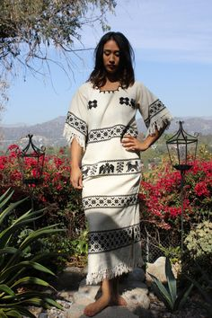 AWESOME THUNDERBIRD Hand Woven Mexican Tunic Huipil Maxi Dress 1970s on Etsy, $68.00