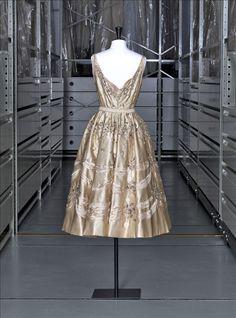 """Taglioni"" evening dress, silk satin, ""aurore boréale"" Swarovski strass, Pierre Balmain, 1955"