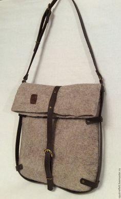 Купить Валяная сумка Простая форма - коричневый, валяная сумка, Валяние, Мокрое валяние, сумка