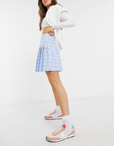 New Look mini pleated tennis skirt in pastel blue check | ASOS Pleated Tennis Skirt, Check Printing, Blue Check, Saved Items, New Look, Asos, White Dress, Mini Skirts, How To Make