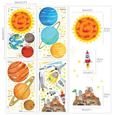 Kids Solar System Map Wall Decals Stickers by HarvyHomewares