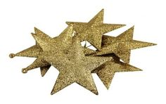 "Amazon.com: Pack of 6 Shatterproof Glittery Gold Star Christmas Ornaments 3.5"": Home & Kitchen"
