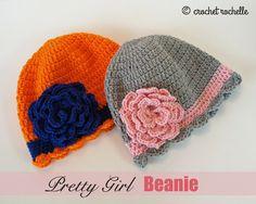 Crochet Rochelle: Pretty Girl Beanie - my new free pattern - easy and adorable! #crochet #freepattern