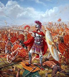 """Julius Caesar leads the Republic of Rome's soldiers in a downhill attack on the hordes of Helvetia at the battle of Bibracte. He wears his famous red cloak and boots as he fights, amongst the front ranks of the Tenth legion"", Mark Churms"