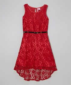 Take a look at this Wine Lace Belted Hi-Low Dress - Girls by Apollo on #zulily today!