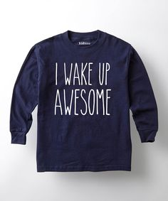 Look what I found on #zulily! Navy 'I Wake Up Awesome' Tee - Kids by KidTeeZ #zulilyfinds
