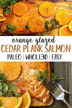 This and Paleo orange glazed cedar plank salmon is every bit as delicious and easy as it looks! It's one of my favorite simple ways. Salmon Recipes, Fish Recipes, Seafood Recipes, Paleo Dinner, Healthy Dinner Recipes, Recetas Whole30, Cena Paleo, Cedar Plank Salmon, Clean Eating
