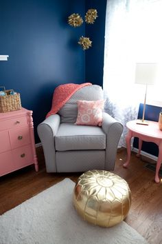 Coral, Navy, Gray and Gold. In love!