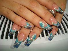 Turquoise Acrylic Nails | Gel Acrylic Nails