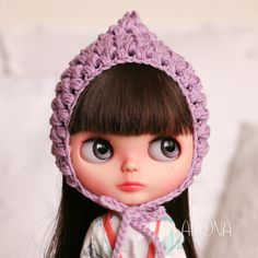 Summer Cotton Pixie Gnome Helmet for Blythe, Lavender de TheCrochetFactor en Etsy