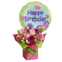 Birthday Balloons And Flowers