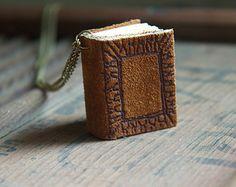 Mini Book Charm Necklace for book lover teacher librarian English major - Tiny brown organicly engraved novel pendant