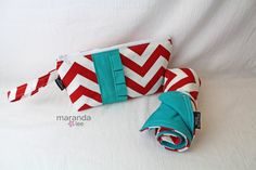 Baby Gear - Diaper bag Changing Mat Pad Chevron Zippered Diaper Clutch Changing Pad Set  by marandalee,