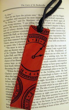 Leather bookmark with clocks and tassel by kindakicrafts on Etsy