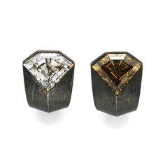 Pair of diamond and steel earrings by Hemmerle