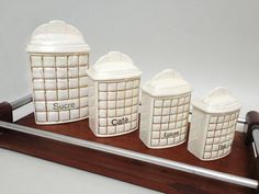 Set of Vintage White Iridescent Ceramic Kitchen by FrenchBricABroc