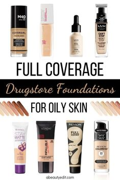 drugstore is a great place to find affordable matte full coverage makeup/foundation for oily skin. I put these eight foundations to work on my hyperpigmentation, discoloration, and combination/oily skin and I was impressed with the results. Full Coverage Drugstore Foundation, Best Foundation For Oily Skin, Full Coverage Makeup, Makeup Tips Foundation, Best Foundation For Combination Skin, Liquid Foundation, Awesome Foundation, Face Foundation, Foundation Routine