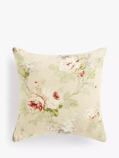 Sanderson Sorilla Cushion, Biscuit at John Lewis & Partners Sanderson Fabric, Shell Station, John Lewis Shops, Collection Services, Cushion Filling, Twenty One, Home Collections, Vintage Floral, Cushions