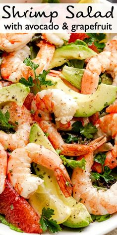 This Shrimp Salad with Avocados is full of fresh flavors! It's light and refreshing and sure to be your new favorite summer salad! #shrimp #salad #avocadoes Shrimp Salad Recipes, Shellfish Recipes, Summer Salad Recipes, Avocado Recipes, Summer Salads, Seafood Recipes, Healthy Dinner Recipes, Seafood Dishes, Shrimp Salads