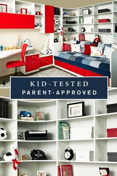 A room they'll love playing in. You'll love all the bedroom organization options these drawers and built-in cubbies provide. Topped with red high-gloss door and drawer fronts, this child's bedroom/playroom is a dream come true.