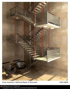 Arne Jacobsen  National Bank of Denmark, Copenhagen sculptural steel staircase