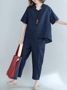 Casual Work Outfits, Work Casual, Navy Outfits, Striped Outfits, Kurta Designs Women, Blouse Designs, Navy Two Piece, Mode Abaya, Pants For Women