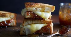 Grilled Cheese with Fig Jam 8 slices white or sourdough bread ¼ cup fig jam ¼ cup honey 6 oz. mozzarella cheese, sliced ¼ cup melted butter Pinch of sea salt H… National Grilled Cheese Day, Best Grilled Cheese, Grilled Cheese Recipes, White Cheese, White Cheddar Cheese, Fig Jam, Jam Recipes, Wrap Sandwiches, Sourdough Bread
