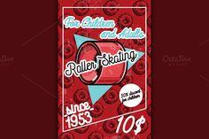 Color vintage roller Skates poster by Netkoff on @creativemarket