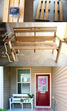 Banco con un palé - - DIY Pallet Bench outsidebenches Backyard Projects, Diy Pallet Projects, Outdoor Projects, Pallet Art, Pallet Bench, Pallet Furniture And Decor, Home Crafts, Diy Home Decor, Pallet Creations