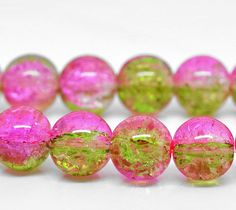 35 Crackle Glass Beads Two Tone Pink and Green by BohemianFindings, $1.95
