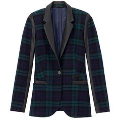 Checked Blazer ❤ liked on Polyvore featuring outerwear, jackets, blazers, coats, satin jacket, blue checkered blazer, checkered blazer, esprit jacket and blue blazer jacket