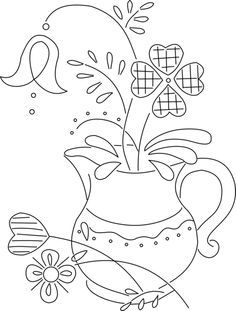 pitcher and flowers - embroidery pattern This would be a good pattern to try the crayon coloring technique. Or attempt watercolors, but that is way more difficult. :)