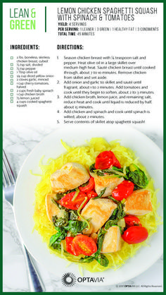 Lemon chicken spaghetti squash with spinach and tomatoes medifast recipes, healthy recipes, healthy dishes Lean Protein Meals, Lean Meals, Ideal Protein, Medifast Recipes, Healthy Recipes, Healthy Dishes, Healthy Habits, Healthy Choices, Healthy Meals