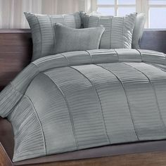 Shop for Chauran Cerisse Mist Grey Sateen Ambi Ridge Pleated Duvet Cover. Get free shipping at Overstock.com - Your Online Fashion Bedding Outlet Store! Get 5% in rewards with Club O! - 17675890
