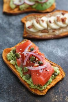 Oven Baked Sweet Potato Toast 4 Ways | The Real Food Dietitians | http://therealfoodrds.com/oven-baked-sweet-potato-toast-4-ways/