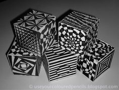 Op Art Cubes inspired by the work of English Op Artist Bridget Riley