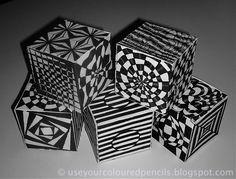 Op Art Cubes inspired by the work of English Op Artist Bridget Riley