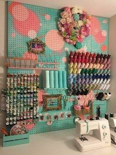 Peg Board Sewing Station Organizer DIY....... #GreenLiving #Craft #Vintage #Recycle #Repurpose #ReUse #Upcycle #DIY #GoneJunking #FleaMarkets #DontThrowAway #Discarded #Handmade #FoundObject #Sewing #Organize