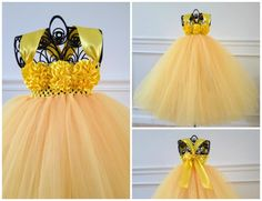 Yellow Flower Girl Dress by GigglesWiggles1, $75.00 USD
